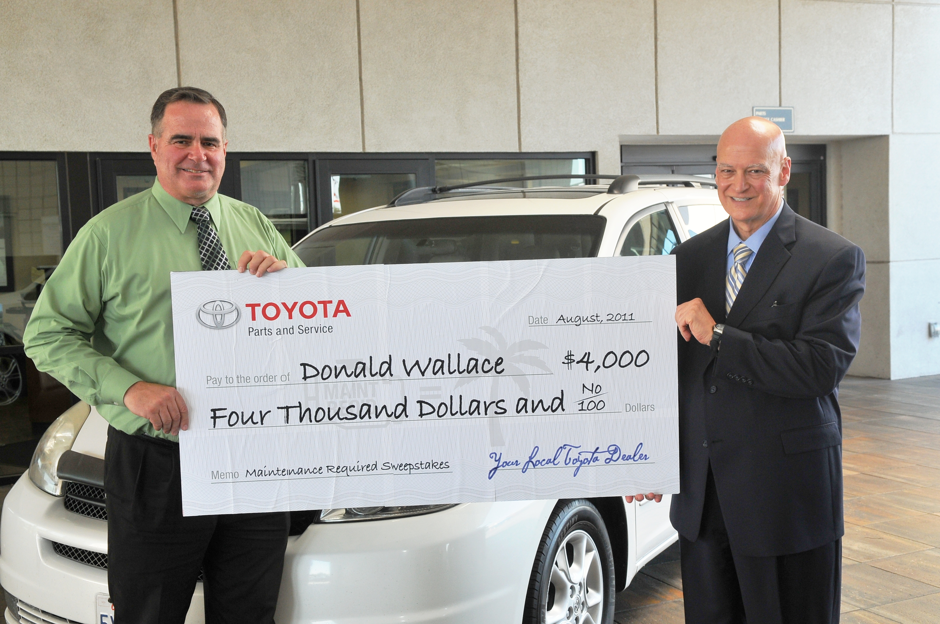 Toyota Dealership Awards Winner Of U201cMaintenance Requiredu201d Contest