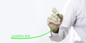 Businessman draw growing line symbolize growing Conversion Rate