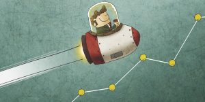 Businessman inside a rocket and flying over a market graph