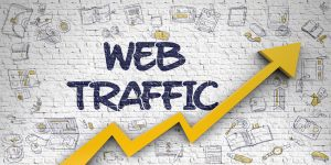Web Traffic Drawn on White Brick Wall. 3D.