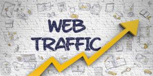 Web Traffic Drawn on White Brick Wall. 3D.