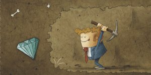 Businessman mining to find diamonds. Business concept illustration